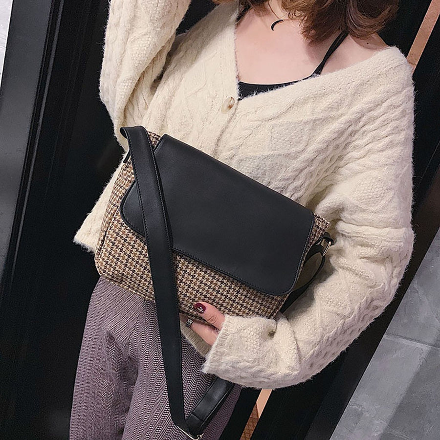 Retro Woolen Shoulder Bag Simple Art Casual Wide Shoulder Strap Bag