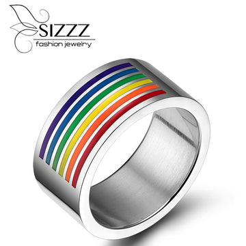 stainless steel rainbow flag ring / gay ring
