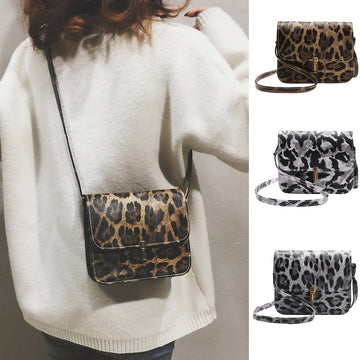 Leopard Print Fawn Pendant Shoulder Bag