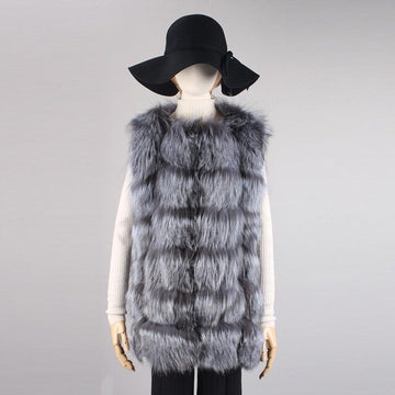 Lesbian Bi Trans Winter Fox Fur Vest Natural Silver Fox Fur Covered Jackets Coat