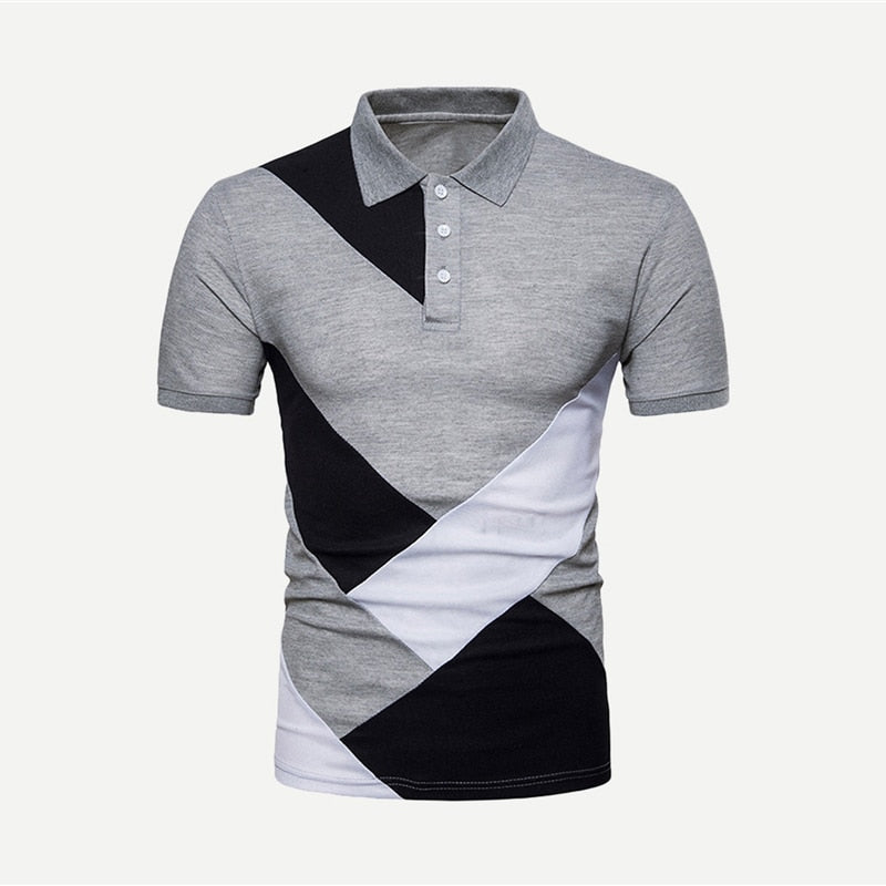 Gay Bi Trans Casual Colorblock Grey Basic Short Sleeve Poloshirts