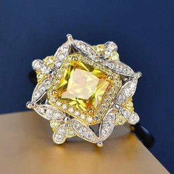 Yellow Diamond Square Diamond Engagement Ring
