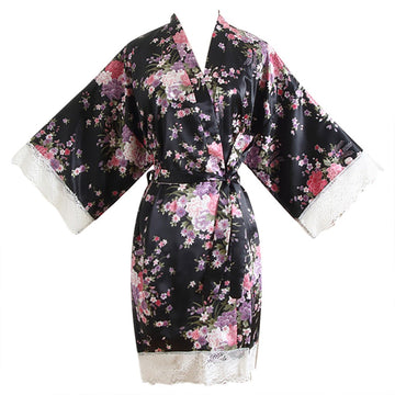 Women Lace Cherry Blossom Kimono Dressing Gown Bath Robe Lingerie