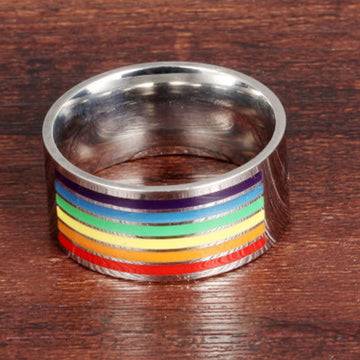 Rainbow Flags Titanium Steel Gay Ring