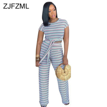 Lesbian Bi Trans Rainbow Striped 2 Piece Outfits Short Sleeve Crop Tops And Wide Leg Pants Suits Summer