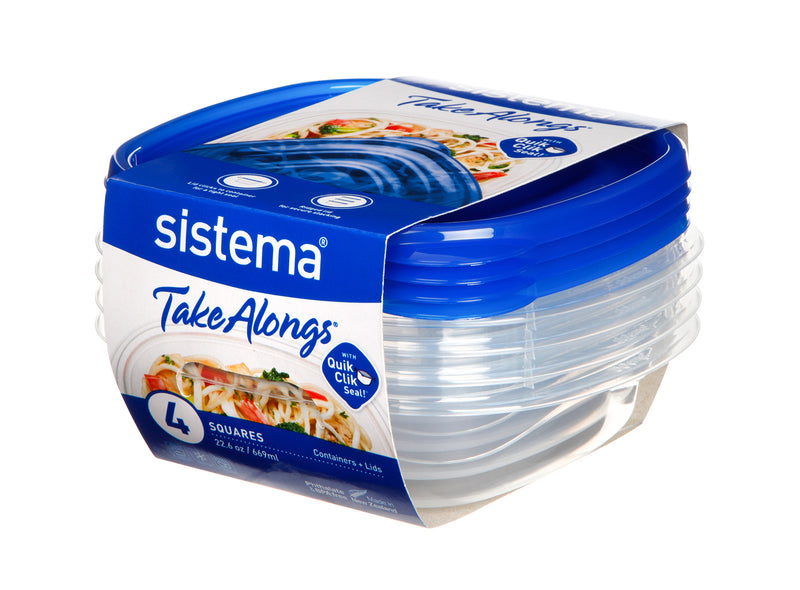 Sistema Sistema TakeAlongs - 669ml Small Deep Square 4 Pack South Africa