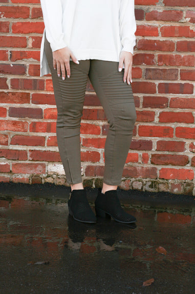 Moto Club Leggings - Olive
