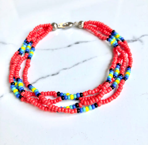 The Quartet Bracelet- Native Coral