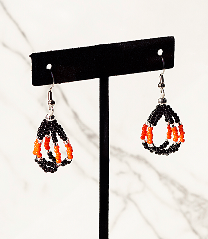 Beaded Loop Earring-Black/Orange