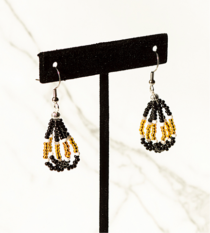 Beaded Loop Earring-Black/Gold