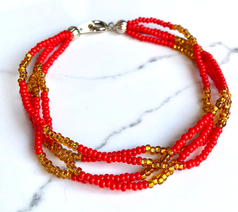 The Quartet Bracelet- Red Gold