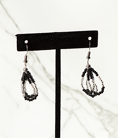 Beaded Loop Earring- Black/Silver
