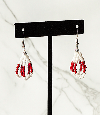 Beaded Loop Earring- White/Red