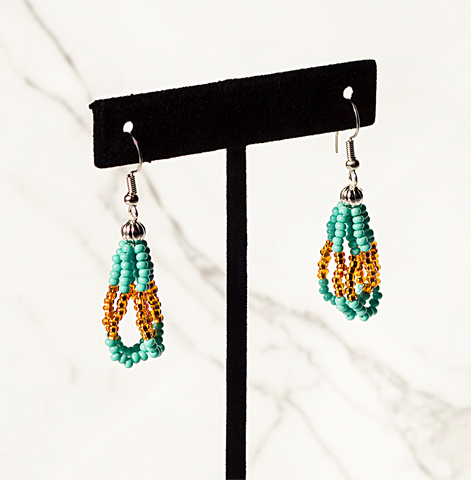 Beaded Loop Earring-Turquoise/Gold