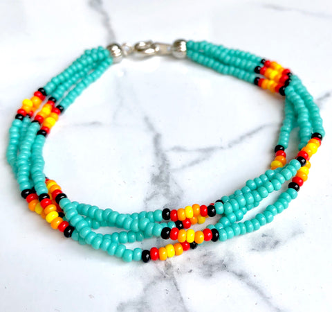 The Quartet Bracelet-Turquoise Sunburst