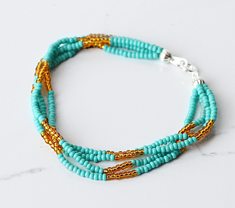 The Quartet Bracelet- Turquoise/Gold