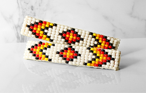 The Duo- Beaded Barrettes in White