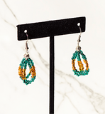 Beaded Loop Earring-Teal/Gold
