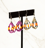 Beaded Loop Earring-Silver Sunburst
