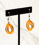 Beaded Loop Earring-Orange/Gold