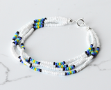 The Quartet Bracelet- White/Blue Sunburst