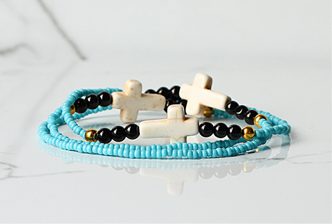 Cross Stretch Bracelet-Turquoise/Black