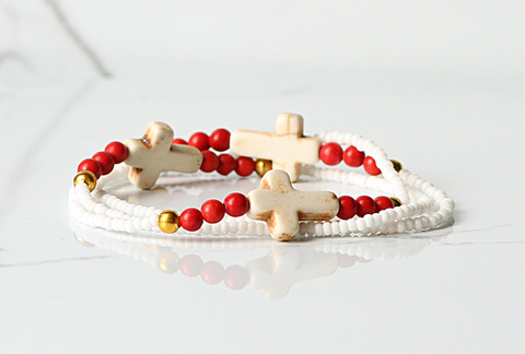 Cross Stretch Bracelet-White/Red