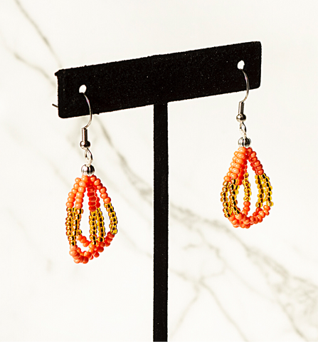 Beaded Loop Earring-Coral/Gold