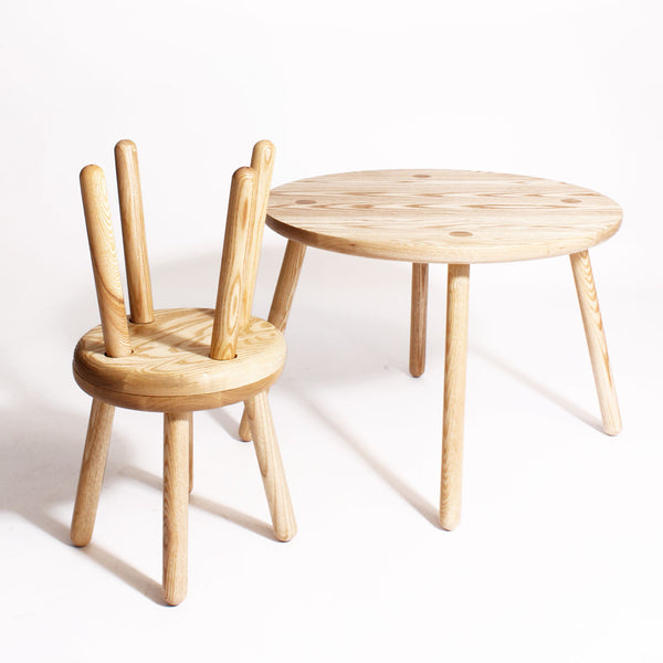 Set of 2 Solid Ash Round Stools - CLM Home
