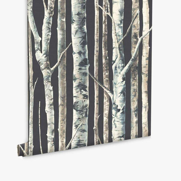 Birch Trees Wallpaper - Charcoal - CLM Home