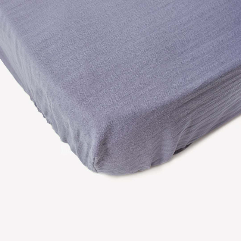Signature Cot Fitted Sheet - Dusky Blue - 140 X 70 European Cot - CLM Home