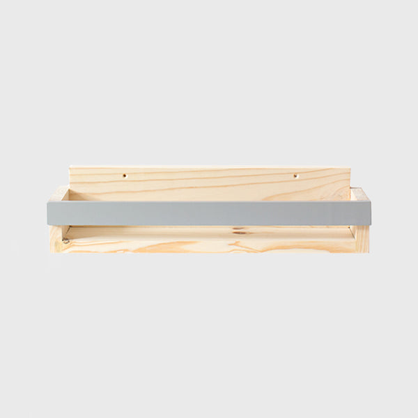 Pine Book Display Ledge with Coloured Strip Grey - CLM Home