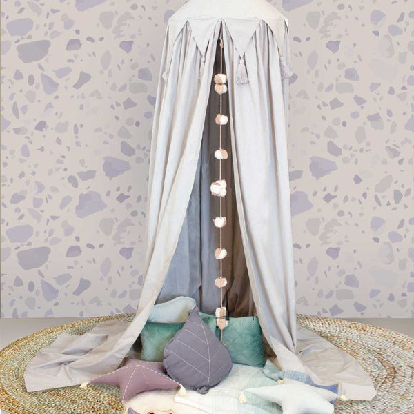 Canopy - Organic Cotton With Triangle & Tassels -Light Grey - CLM Home