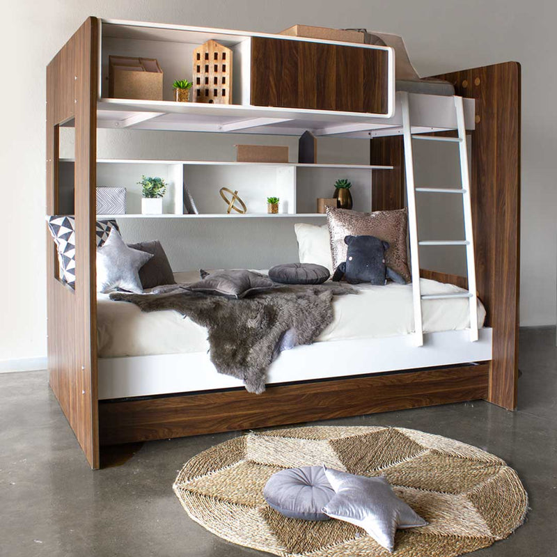 Dillon Bunk Bed - White & Walnut - CLM Home