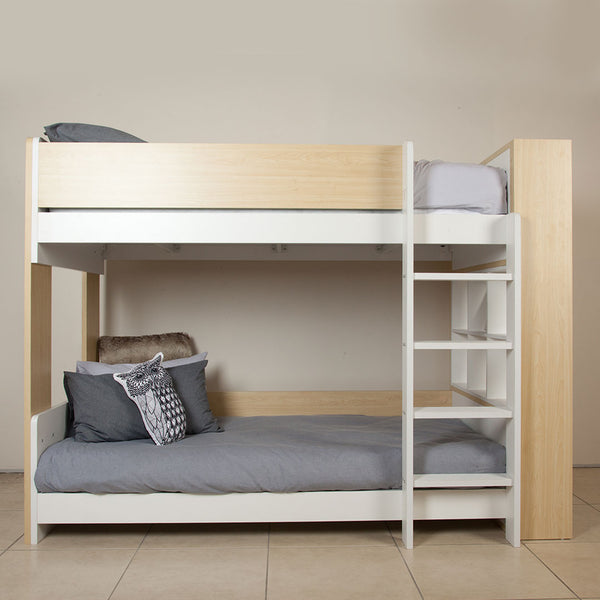 Flant & Mungo Bunk Bed – White & Light Woodgrain - CLM Home