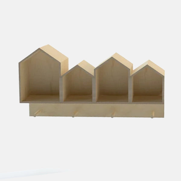 House Wall Shelf With Hooks - CLM Home