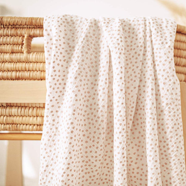Muslin Wrap - Blush Messy Dots - CLM Home