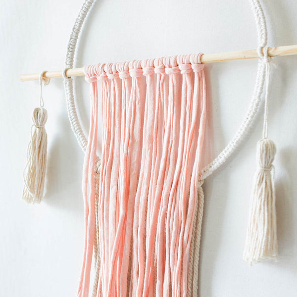 Circle Wall Hanging With Tassels - Peach & Natural - CLM Home