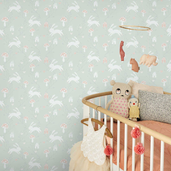 Bunny Love Wallpaper - Blue Mist - CLM Home