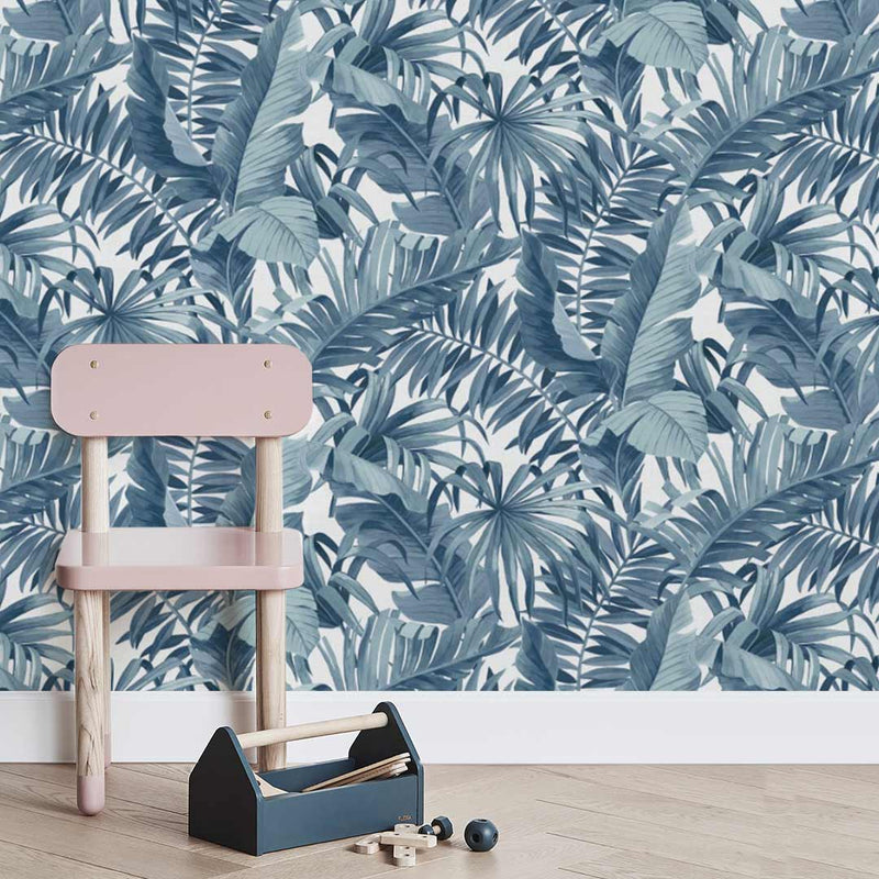 Tropical Leaves Wallpaper - Blue - CLM Home