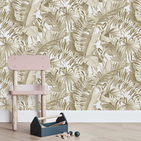 Tropical Leaves Wallpaper - Gold - CLM Home