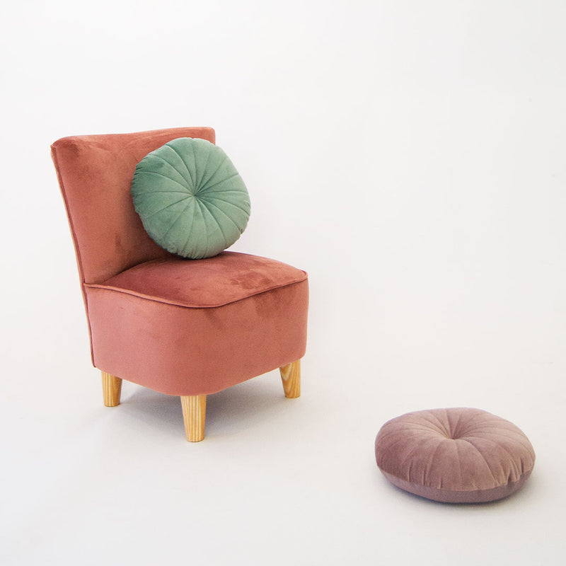 Velvet Scandi Kids Chair - Various Colours - CLM Home
