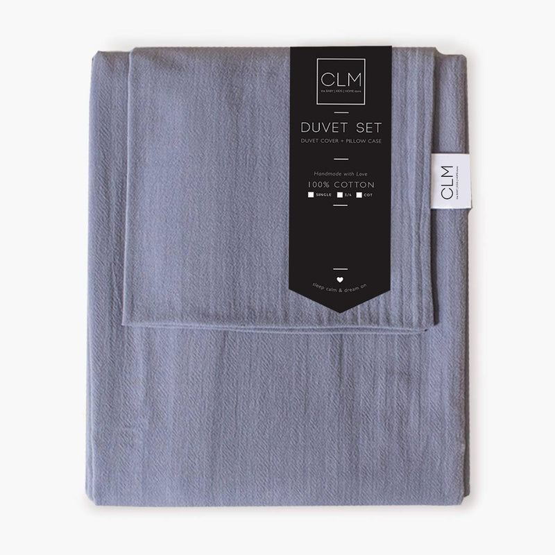 Signature Duvet Set - Dusky Blue - Single - CLM Home