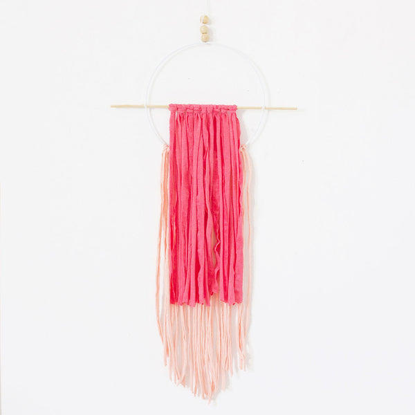 Circle Wall Hanging - Neon Pink & Peach - CLM Home