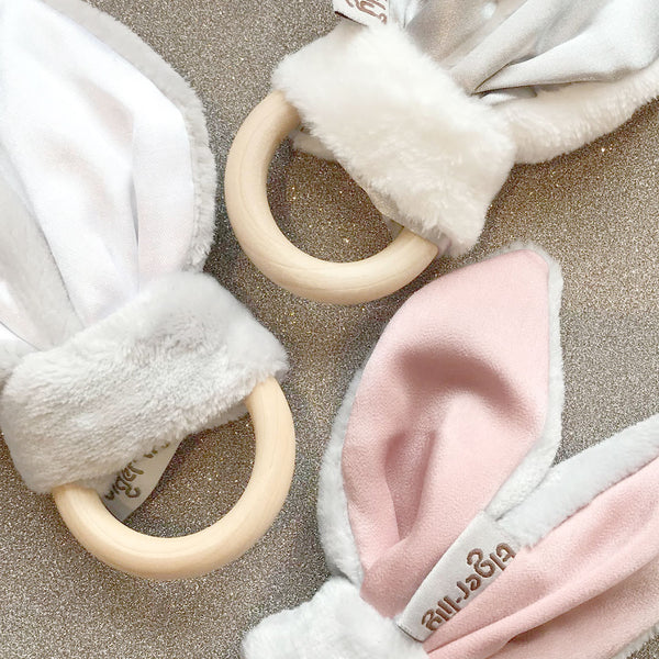 Bunny Ear Teether Dusty Pink And Black - CLM Home