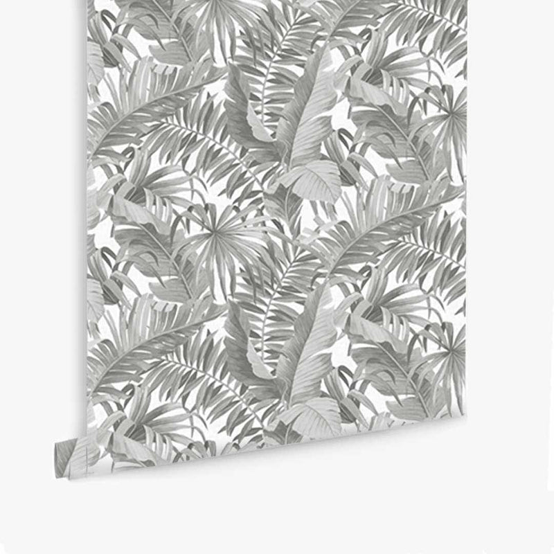 Tropical Leaves Wallpaper - Grey - CLM Home