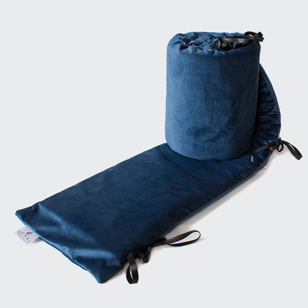 Midnight Blue Velvet Cot Bumper Cover - CLM Home