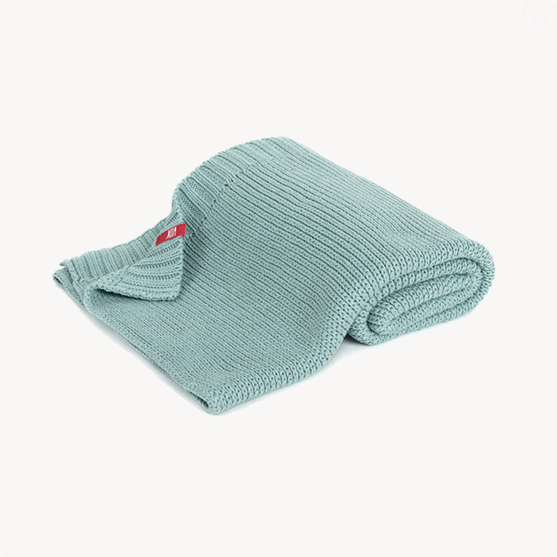 Knitted Baby Blanket 90X75 - Teal - CLM Home