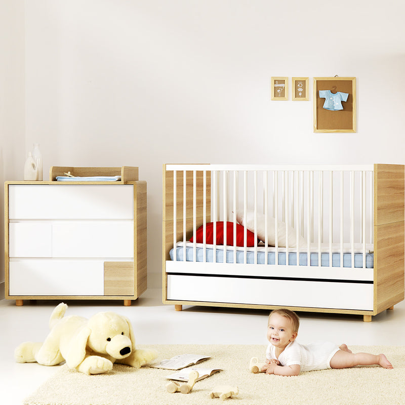Evolve Cot Bed - Oak & White - CLM Home