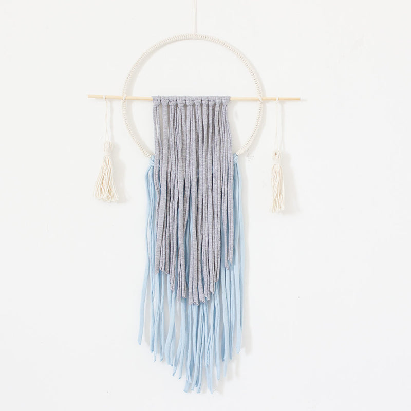 Circle Wall Hanging With Tassels - Grey & Blue - CLM Home
